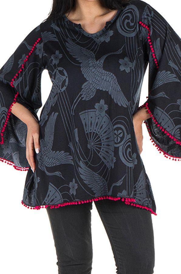 Tunique femme ronde Noire style flamenco avec manches évasées Frida 302014