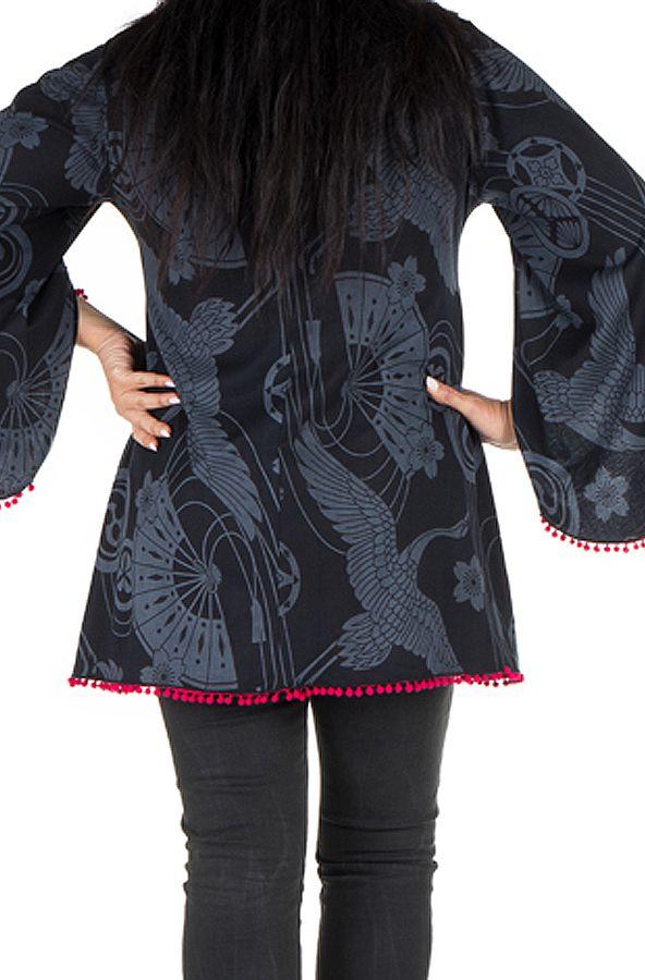 Tunique femme ronde Noire style flamenco avec manches évasées Frida 302016