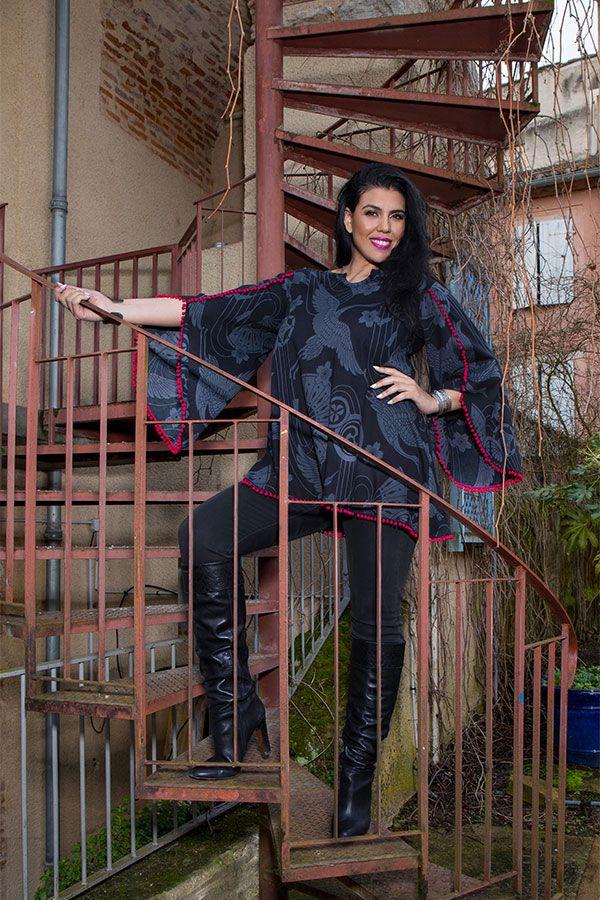 Tunique femme ronde Noire style flamenco avec manches évasées Frida