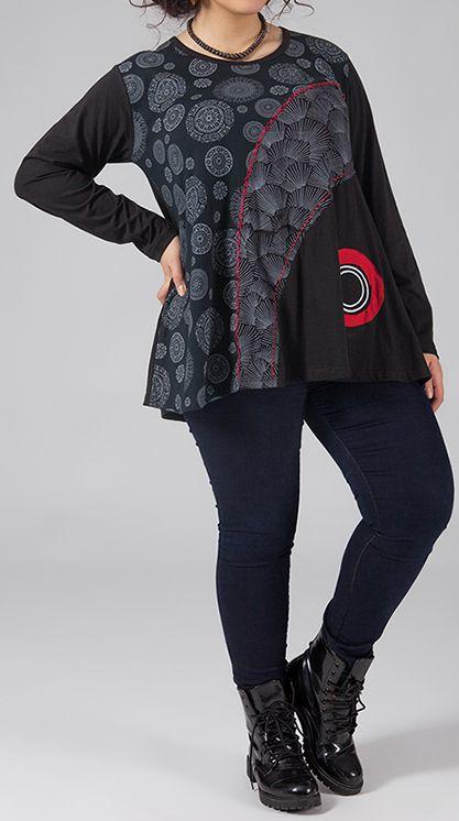 Tunique femme ronde Originale et Ethnique Idalie Grise 274797