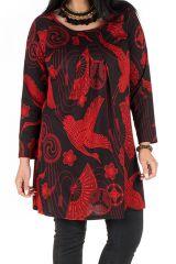 Tunique grande taille Rouge imprimés oiseaux et tissu plissé Diégo 301969