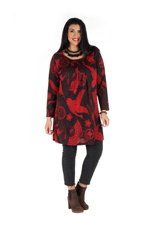 Tunique grande taille Rouge imprimés oiseaux et tissu plissé Diégo 301970
