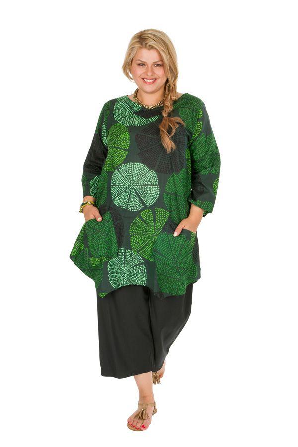 Tunique grande taille très jolie en tons verts Melissa 309843