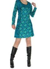 Tunique imprim�e bleue avec poches Dounia 267141