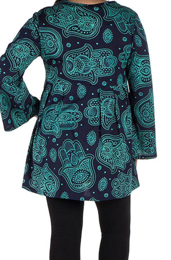 Tunique imprimée Main de Fatima en Grande taille Lauraly Bleue 301696
