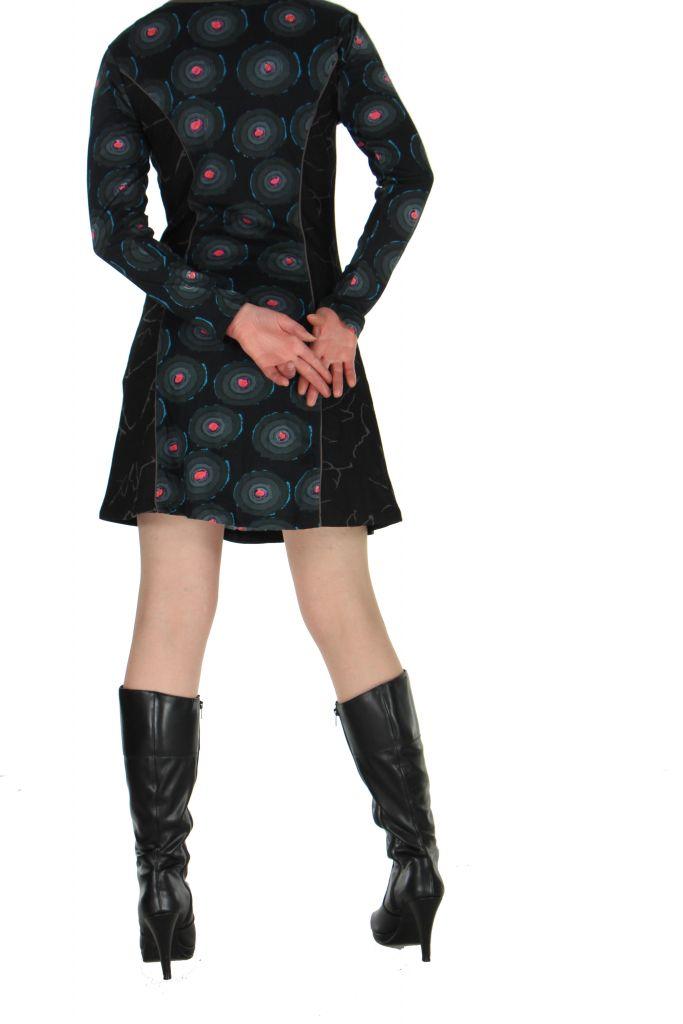 Tunique imprimée noire avec poches Dounia 267140