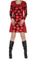Tunique imprimée rouge avec poches Dounia 267137