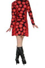 Tunique imprimée rouge avec poches Dounia 267138