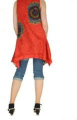 Tunique imprimée rouge col rond Mayami 267718