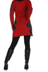 Tunique imprimée rouge Flowen 266441
