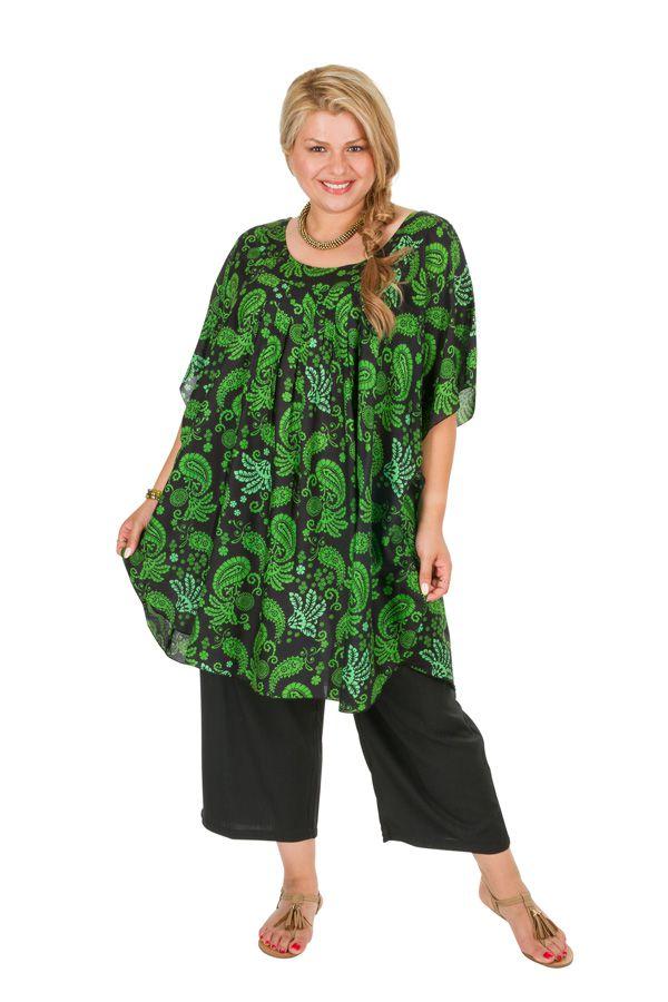 Tunique imprimée verte femme grande taille Lucia