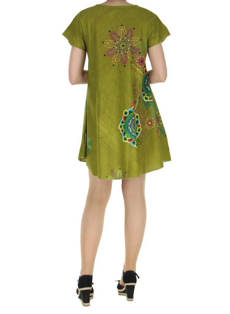 Tunique kaki manches courtes imprimée Fiona 267586