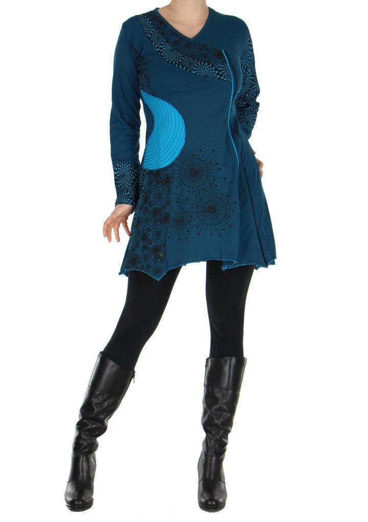 Tunique original col en v bleue fanny 266415