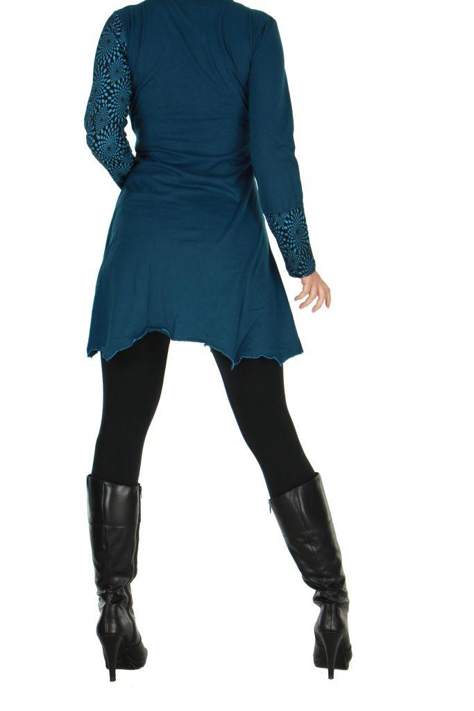 Tunique original col en v bleue fanny 266416