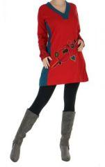 Tunique originale � manches longues karell rouge 265103