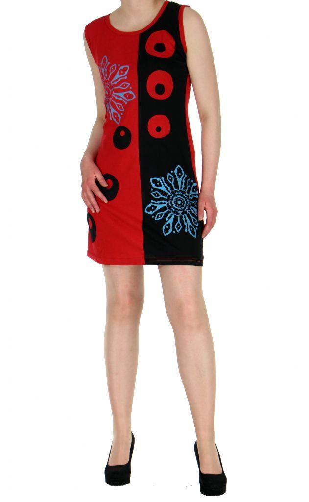 Tunique originale rouge en coton Paula 268609