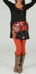 Tunique ou robe courte imprim�e et originale Noire et rouge Raimad 273986
