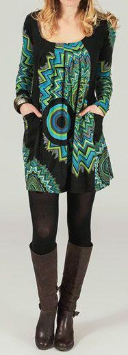 Tunique ou robe courte imprimée et originale Noire et verte Raimad 273988