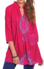 Tunique pour Femme à col Indien Colorée et Originale Gafsa Rose 281824