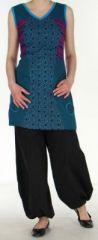 Tunique/Robe d'�t� du N�pal sans manches Peace Bleue et Violette n1 273016