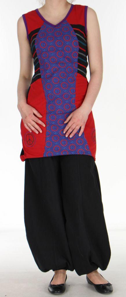 Tunique/Robe d'été du Népal sans manches Peace Rouge et Noire n3 273020