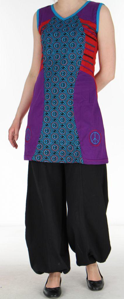 Tunique/Robe d'été du Népal sans manches Peace Violette et Rouge n2 273018
