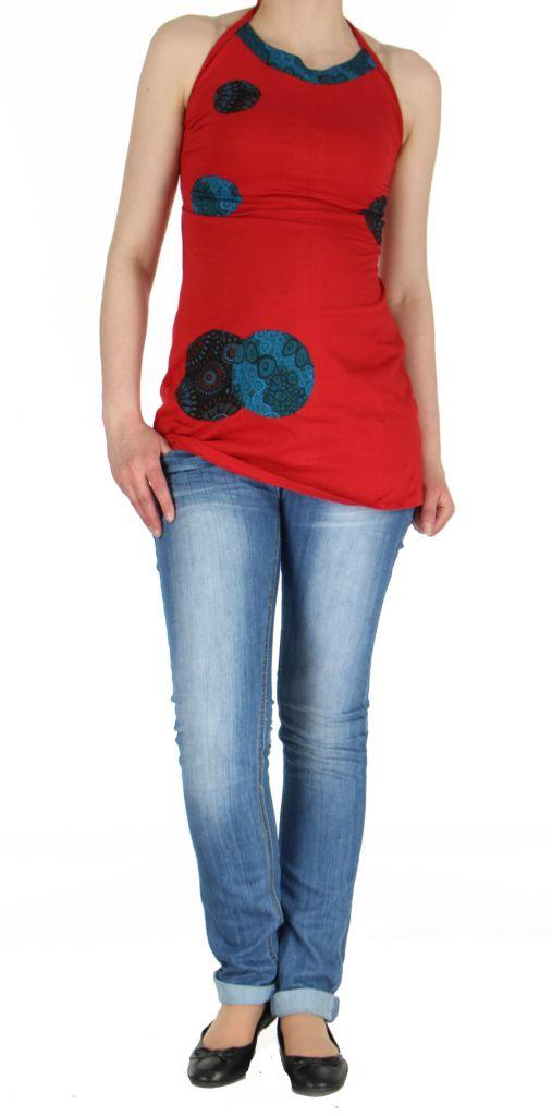 Tunique rouge à dos-nu colorée Cloé 268762