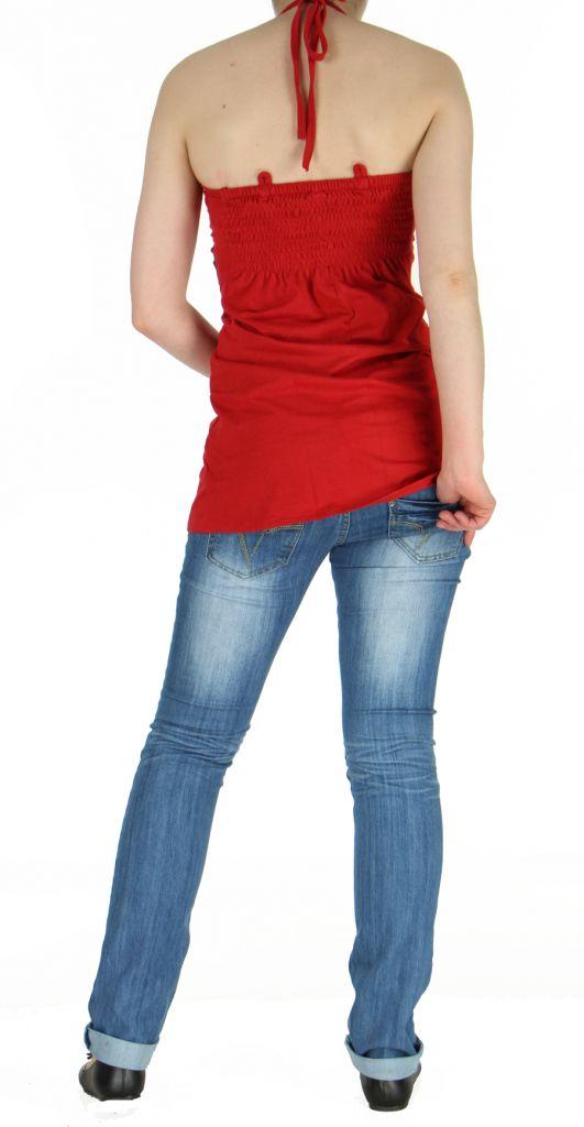 Tunique rouge à dos-nu colorée Cloé 268763
