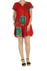 Tunique rouge manches courtes imprimée Fiona 267582
