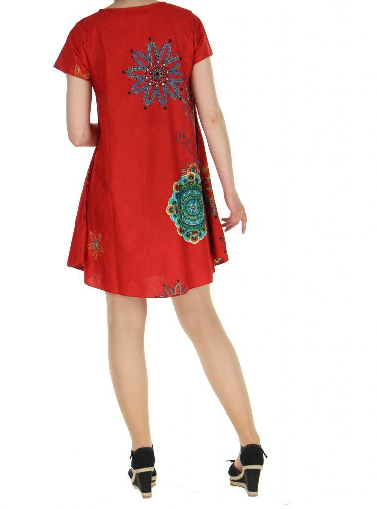 Tunique rouge manches courtes imprimée Fiona 267583