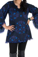 Tunique size + Bleue à manches évasées et motifs fleuris Isak 301997