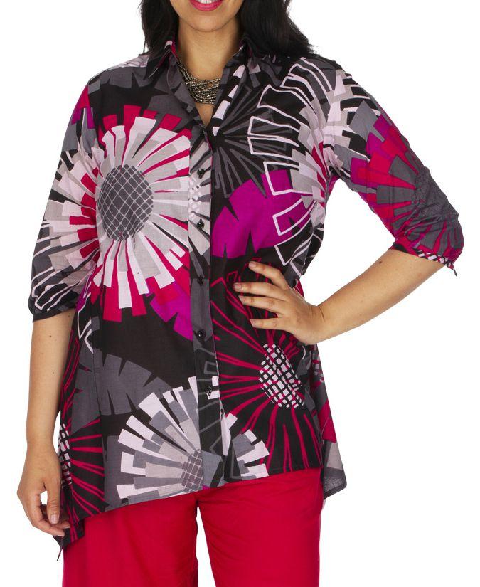 Tunique style chemise été pour femme ethnique Lafangou