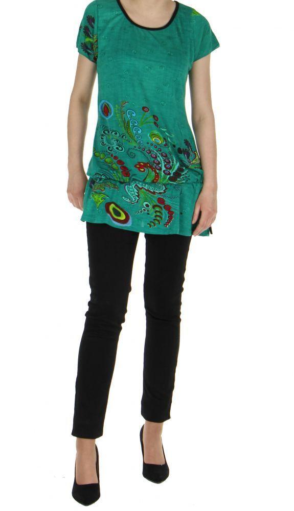 Tunique verte mode ethnique chic imprimée barbade 245779