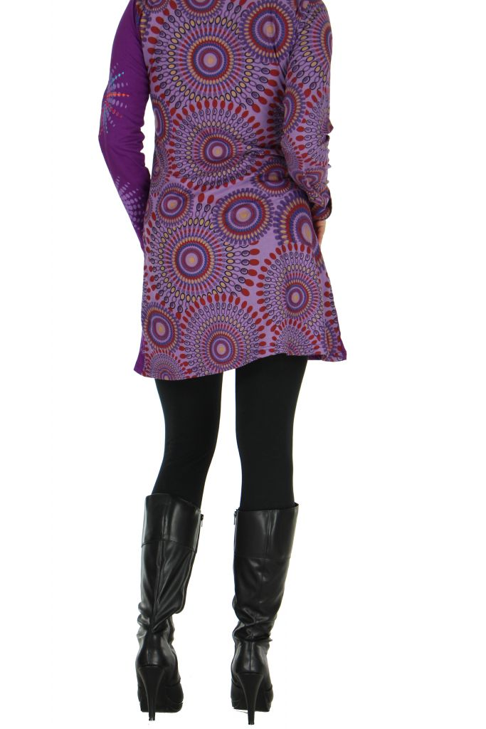 Tunique violette avec broderie Cécilia 266572