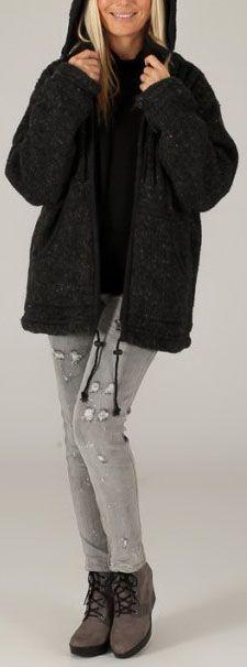 Veste à capuche Mixte en Laine et Polaire Originale Jenny Anthracite 276575