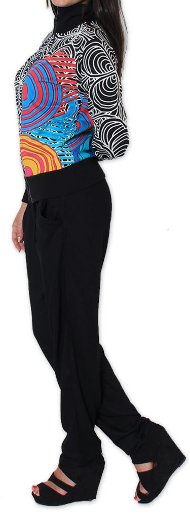 Veste courte à manches longues Ethnique et Colorée Beverli Noire 274351