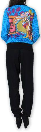 Veste courte à manches longues Ethnique et Colorée Cathie Bleue 274385