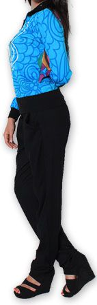 Veste courte à manches longues Ethnique et Colorée Cathie Bleue 274386