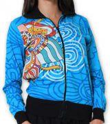 Veste courte à manches longues Ethnique et Colorée Cathie Bleue 274387