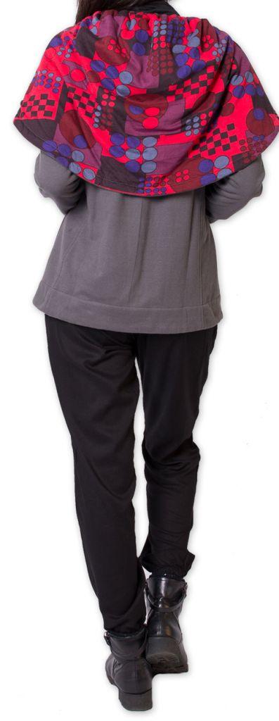 Veste courte doublée Polaire pour Femme  Ethnique et Colorée Senaga Grise 276044