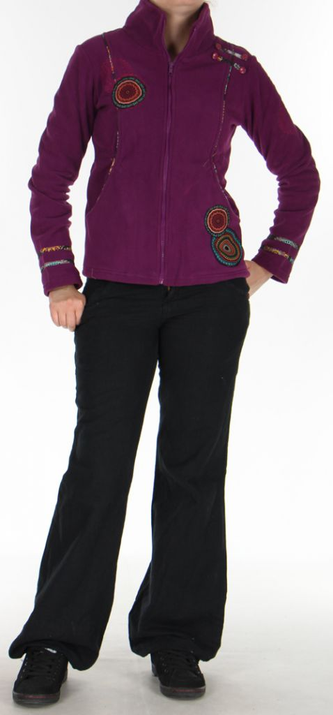 Veste en polaire Colorée et Chaude pour Femme en polaire Shainel Mauve 276206