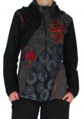 Veste Femme à capuche amovible Ethnique et Originale Grazy Grise 279180