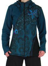 Veste Femme Bleue à capuche amovible Ethnique et Originale Grazy 279186