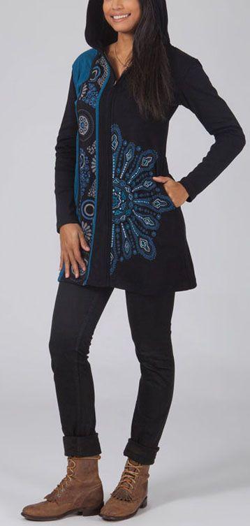 Veste femme ethnique zippée courte à capuche Catherine