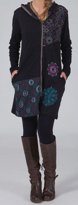Veste femme mi-longue à capuche Ethnique et Originale Caitlyn 274548