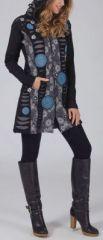Veste femme mi-longue à capuche Ethnique et Originale Calista 274550