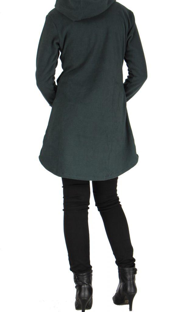 veste longue en polaire avec capuche grise mirza. Black Bedroom Furniture Sets. Home Design Ideas