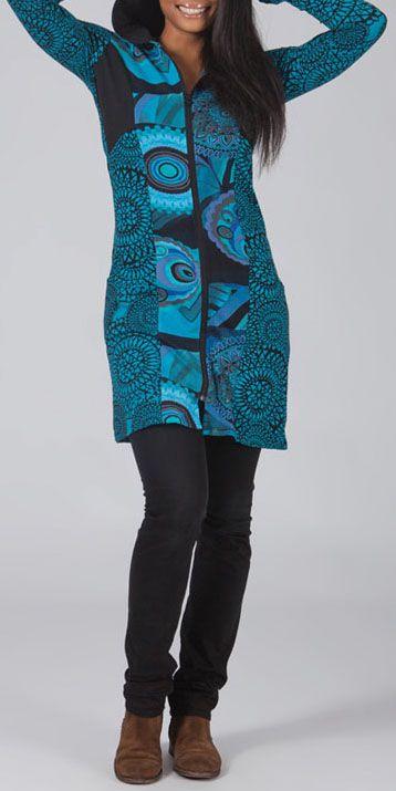 Veste mi-longue à capuche Ethnique et Colorée Guirec Bleue 274742