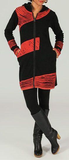 Veste mi-longue à capuche Ethnique et Colorée Philaé 274003
