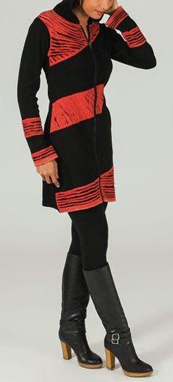 Veste mi-longue à capuche Ethnique et Colorée Philaé 274004